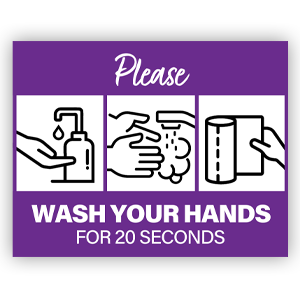 Picture of 14x11 General Wash Hands Purple