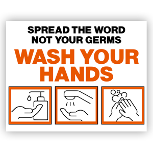Picture of 14x11 Be Kind Wash Hands Orange