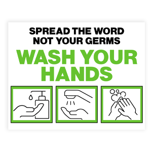 Picture of 14x11 Be Kind Wash Hands Green