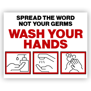 Picture of 14x11 Be Kind Wash Hands Red