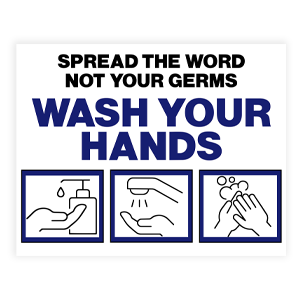 Picture of 14x11 Be Kind Wash Hands Blue